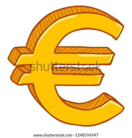 Vector Gold Cartoon Currency Sign Euro Stock Vector Royalty Free