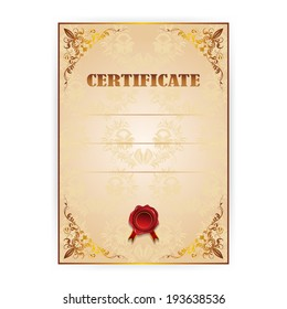 Vector gold certificate with a laurel wreath on beige  background
