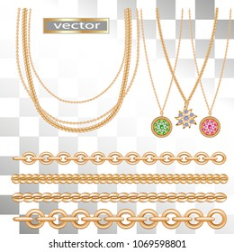 Vector. Gold chains, pendants, pendants made of gold on a chain, chains with different types of interlacing links. Jewelry to wear. Realistic illustration .Isolated on white transparent background.