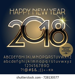 Vector gold chic Happy New Year 2018 greeting card with set of letters, symbols and numbers. Font contains Graphic Style