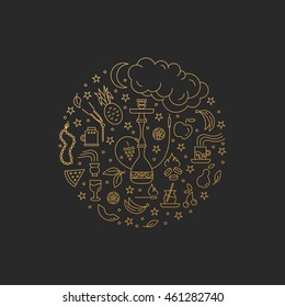 Vector gold circle concept with line icons isolated on black background. Hookah accessories, smoke, tobacco, fruits, hookah, charcoal. Labels for shop or hookah lounge. Smoke illustration