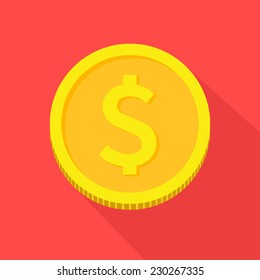 Vector gold coin icon,flat style with long shadows on red background