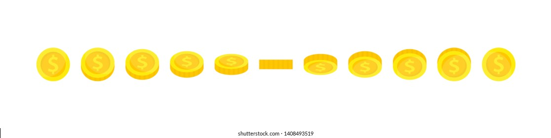 Vector gold coin sprites illustration for animation frames. Use in game development, mobile games or motion graphic. Cent, dollar