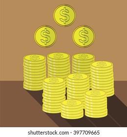 Vector Gold Coins Icon. Cash Money