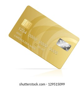 Vector gold Credit Card isolated