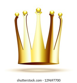 Vector Gold Crown for Princess Isolated On White Background