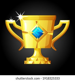 Vector gold cup with a jewel for the winner. Gold luxury award with a gem to victor.