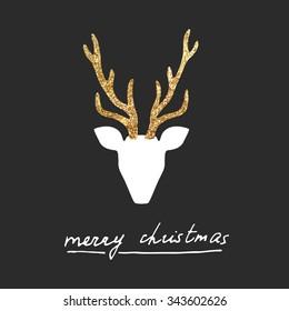 Vector gold deer Merry Christmas postcard.