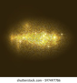 Vector gold disco lights  background. Vector design