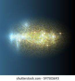 Vector gold disco lights  background. Vector design