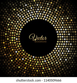 Vector gold disco lights frame with shiny stars on black
