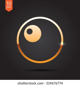 Vector gold egg icon on dark background