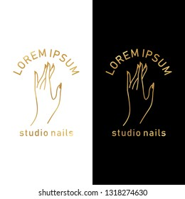 vector gold emblem with a female hand in a trendy minimalist linear style. logo for a beauty salon or a manicurist.  template for packaging hand cream or nail Polish, nail, soap, beauty store.