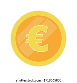 Vector gold euro coin in flat style.