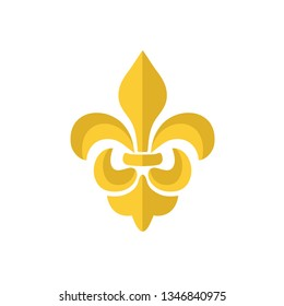 Vector gold Fleur de lis ornament icon on white background. Royal heraldic symbol. Vector illustration