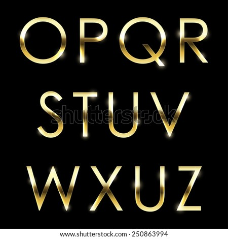 Vector Gold Font Collection Golden Letters Stock