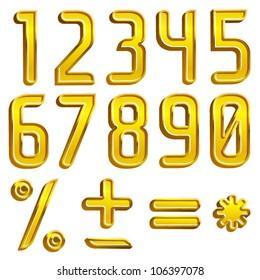 Vector gold font digits