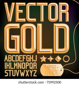 Vector gold font and elements, full alphabet