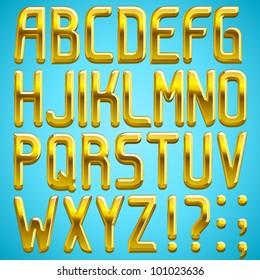 Vector gold font, full alphabet