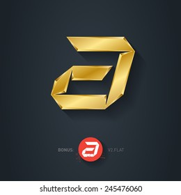 Vector gold font, Letter A. Pseudo origami style, including flat version. Elegant Template for company logo. Metallic Design element or icon.
