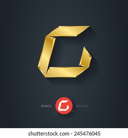 Vector gold font, Letter C. Pseudo origami style, including flat version. Elegant Template for company logo. Metallic Design element or icon.