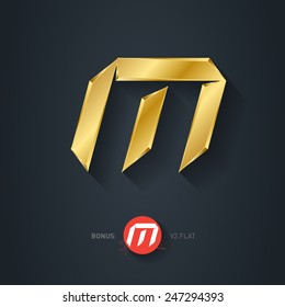 Vector gold font, Letter M. Elegant Template for company logo. 3d Metallic Design element or icon. Pseudo origami style, including flat version.