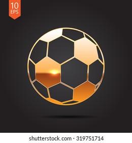 Vector gold football icon on dark background