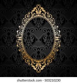 Vector gold frame on black floral background