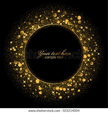 Vector Gold Frame On Black Background Stock Vector Royalty Free