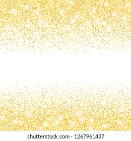 Vector gold glitter confetti dots rain. Golden sparkling glittering border isolated on white background. Party tinsels shimmer, holiday background design, festive frame
