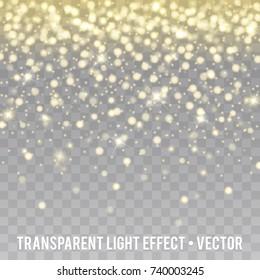 Vector Gold Glitter Effect transparent Background. Star Dust Sparks.