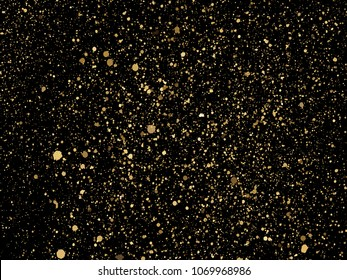 Vector gold glitter particles background for luxury greeting card. Star dust sparks in explosion on black background. Golden sparkling texture.