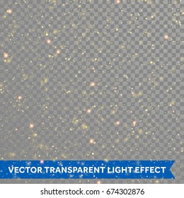 Vector gold glitter particles background effect for luxury greeting rich card. Sparkling spatter texture. Star dust sparks on transparent background. Glittering splatter backdrop