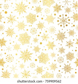 Vector gold glowing snowflakes seamless repeat pattern background. Great for winter holiday fabric, giftwrap, packaging, covers, invitations.