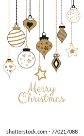 Vector gold greetings cards for Merry Christmas with  black and balls, tree, flower, garlands, text for print and web
