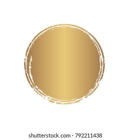 Vector gold grunge circle. Grunge round shape for text, logo, icons, banner design elements.