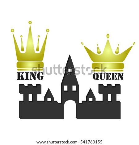 Vector Gold King Queen Crowns Icons Stock Vector Royalty Free