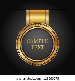 Vector gold label  on black