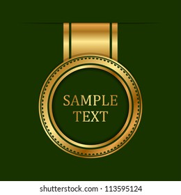 Vector gold label on green background