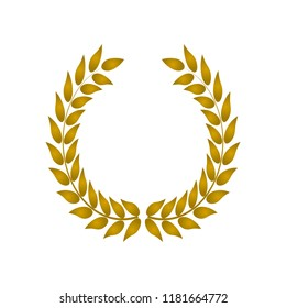 Vector gold laurel or olives wreath. Vintage decorative wreath for invitations, greeting cards, quotes, blogs, posters. Symbol of victory. Vector illustration for design, awards. Crown, winner, ornate