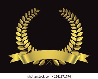 Vector gold laurel wreath with golden ribbon.