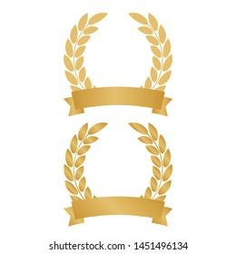 Vector gold laurel wreath. Laurel wreath with golden ribbon.