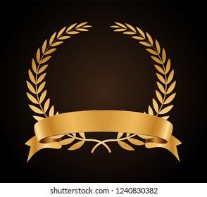 Vector gold laurel wreath.Laurel wreath with golden ribbon.