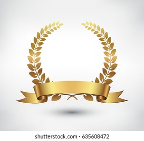 Vector gold laurel wreath.Laurel wreath with golden ribbon.