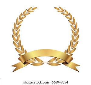 Laurel wreath on award ceremony background