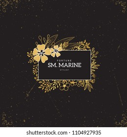 Vector gold logo template. Flourishes calligraphic elements and frames. Modern style of design elements, postcard, banners.