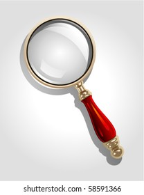 Vector gold magnifier icon