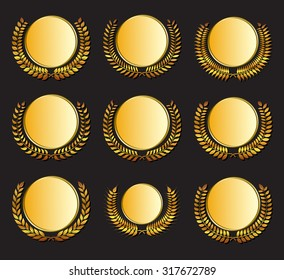 Vector gold medal and laurels set on dark background. Element for design of medals, awards, coat of arms or anniversary logo.
