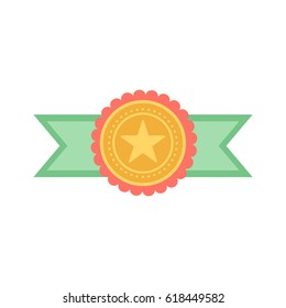 Vector gold medal with relief detail of star and reflections conceptual of an award for victory winning first placement achievement or quality on white background