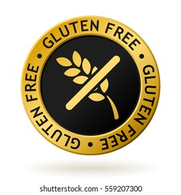 vector gold medal with symbol of gluten free